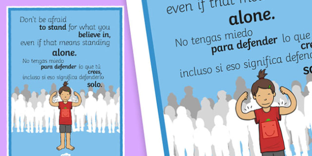 Don't Be Afraid to Stand for What You Believe In Motivational Poster English/Spanishn