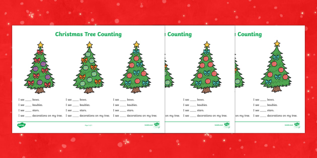 Christmas Tree Counting Worksheets - christmas, coutning, maths