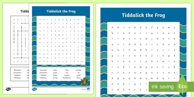 Tiddalick the Frog Word Search-Australia