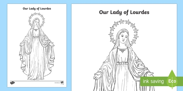 our lady of lourdes colouring worksheet activity sheet our lady of lourdes virgin