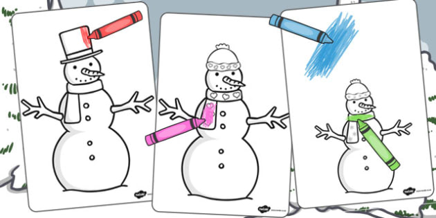 Snow People Colouring Sheets - colouring sheet, colour, snow