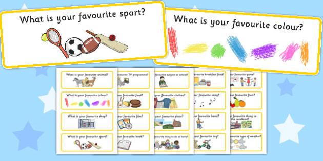 Favourites Question Cards - favourites, question cards, cards