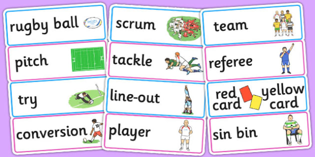 Rugby World Cup 2015 Word Cards - rugby world cup, 2015, word cards
