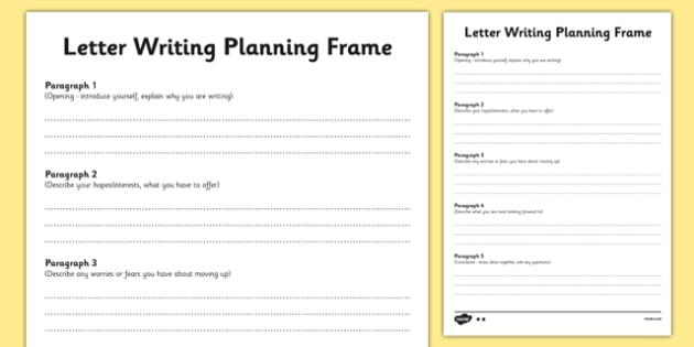 Transition Letter Writing Differentiated Planning Frame Year 6 To