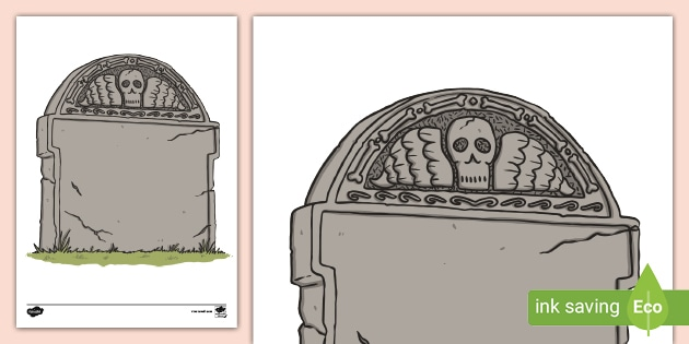 Headstone Template Printable Halloween Grave Stone A4