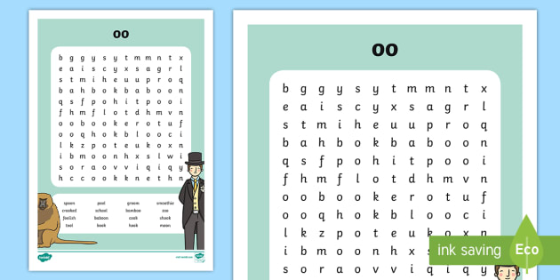 oo' Digraph Differentiated Word Search - reading, vowel digraphs