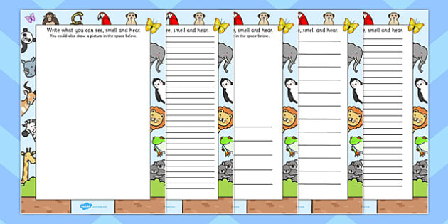 Zoo Trip Senses Writing Frames - zoo trip, senses, writing frame
