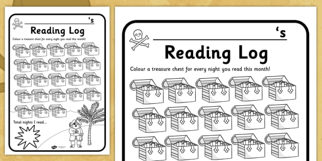 Pirate Themed Reading Log - reading record, read, books, pirates