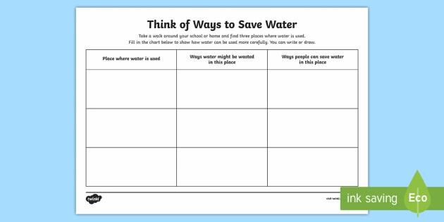 Ways to Save Water Worksheet / Activity Sheet - Water in Australia, sustainability, saving water, recycling water, water, reusing water, water reuse. world water day,