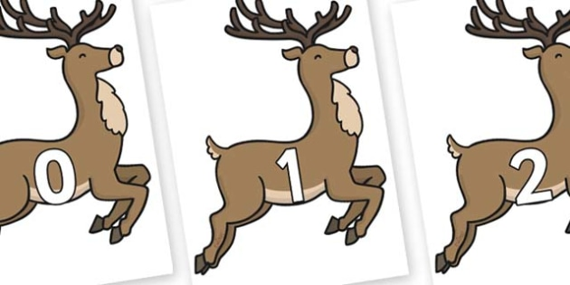 Numbers 0-100 on Reindeer - 0-100, foundation stage numeracy, Number recognition, Number flashcards, counting, number frieze, Display numbers, number posters