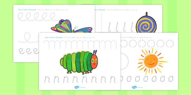 Pencil Control Worksheets to Support Teaching on The Very Hungry Caterpillar - australia