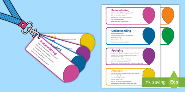 Bloom's Balloons: Bloom's Taxonomy Questions for Reading Cards - comprehension, Understanding, prompts, guided reading, intervention,