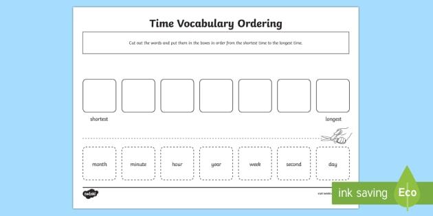 time vocabulary ordering worksheet activity sheet measurement time. Black Bedroom Furniture Sets. Home Design Ideas
