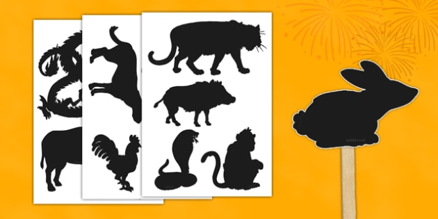 Chinese New Year Zodiac Animals Shadow Puppet Cut-Outs - celebration, other, culture, drama, display, play