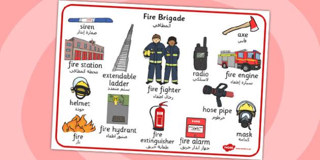 Fire Brigade Word Mat Arabic Translation - arabic, fire brigade, word mat