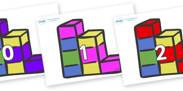 Numbers 0-50 on Building Blocks - 0-50, foundation stage numeracy, Number recognition, Number flashcards, counting, number frieze, Display numbers, number posters