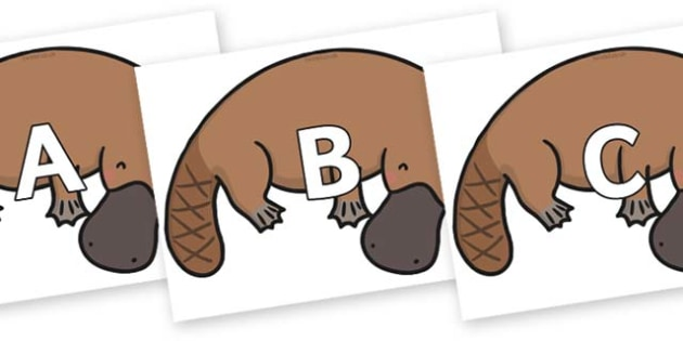 A-Z Alphabet on Platypus - A-Z, A4, display, Alphabet frieze, Display letters, Letter posters, A-Z letters, Alphabet flashcards