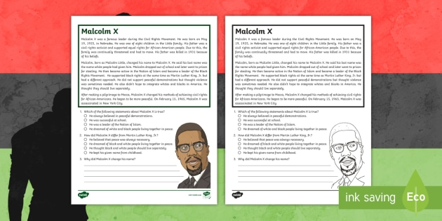 * NEW * Fifth Grade Malcolm X Reading Passage