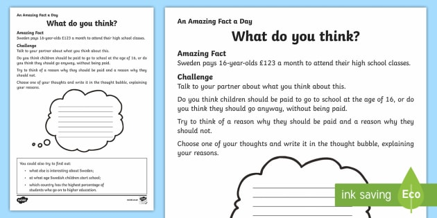 What Do You Think? Activity Sheet - Amazing Fact Of The Day, activity sheets, powerpoint, starter, morning activity, December, discussio