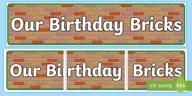 Our Birthday Bricks Display Banner - birthday banner, disply, banner, brick wall, brick wall banner, brick banner, wall banner, display banner, header, display