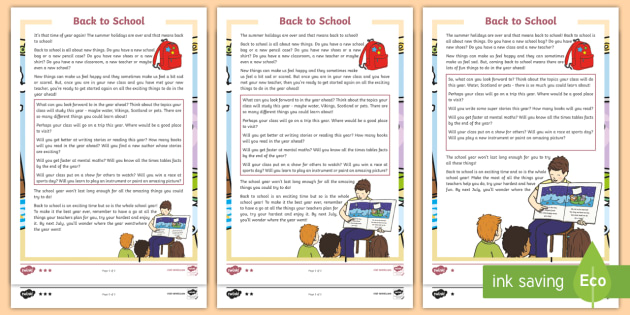 Back To School Differentiated Reading Comprehension Activity