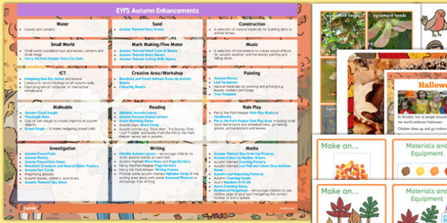 EYFS Autumn Themed Enhancement Ideas and Resources Pack - seasonal, early years, plane, theme, reources, pack, display, activities, work, sheets, inspiration, planning