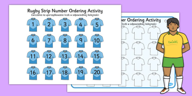 Rugby Strip Number Ordering Activity Polish Translation - polish