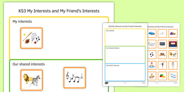 KS3 My Interests and My Friend's Interests Activity Sheet - ks3, my interests, friends, activity, sheet, worksheet