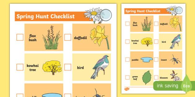 New Zealand Spring Treasure Hunt Checklist