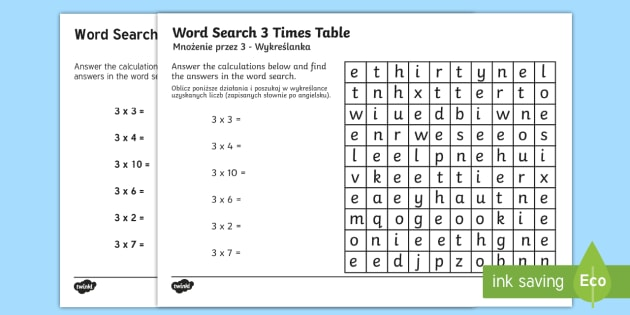 Multiplication 3 Times Tables Word Search Activity Sheet English/Polish - multipilcation, 3 times tables, times tables, wordsearch, worksheet, numeracy, maths, times, tables,