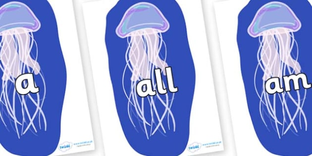 Foundation Stage 2 Keywords on Jellyfish - FS2, CLL, keywords, Communication language and literacy,  Display, Key words, high frequency words, foundation stage literacy, DfES Letters and Sounds, Letters and Sounds, spelling