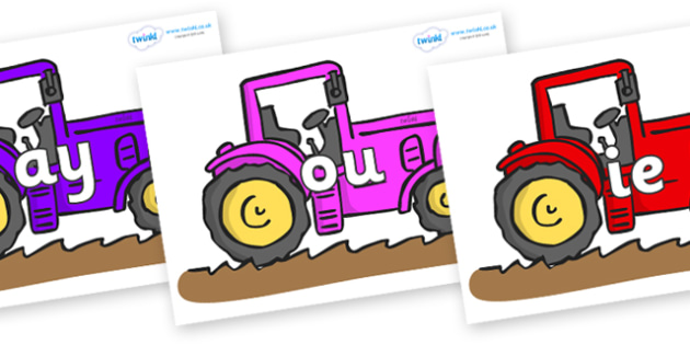 Phase 5 Phonemes on Tractors - Phonemes, phoneme, Phase 5, Phase five, Foundation, Literacy, Letters and Sounds, DfES, display