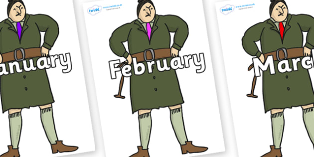 Months of the Year on Mrs Trunchbull to Support Teaching on Matilda - Months of the Year, Months poster, Months display, display, poster, frieze, Months, month, January, February, March, April, May, June, July, August, September