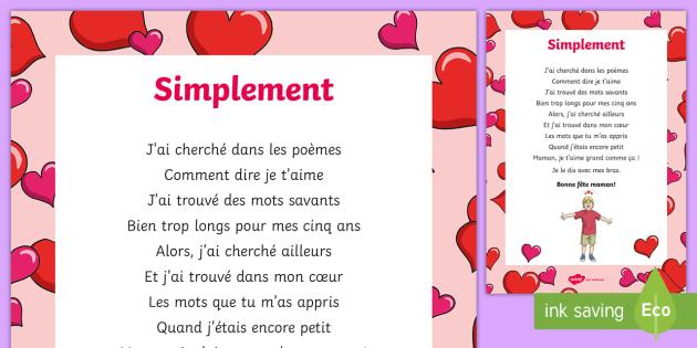 Poème Simplement La Fête Des Mères Cycle 3cycle 2