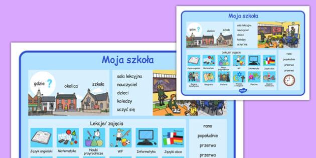 Plansza ze słownictwem Moja szkoła po polsku - przedmioty