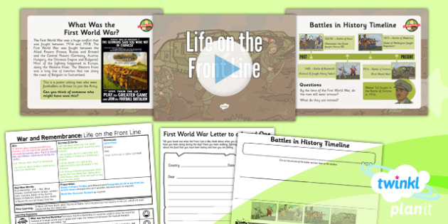 History: War and Remembrance: Life on the Front Line KS1 Lesson Pack 3
