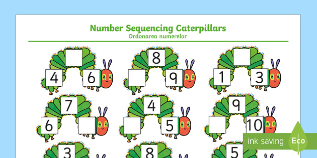 Number Sequencing Caterpillars to Support Teaching on The Very Hungry Caterpillar English/Romanian