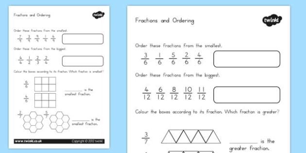 Fractions and Ordering Worksheet - australia, fractions, ordering