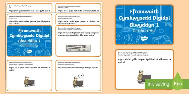 Fframwaith Cymhwysedd Digidol Blwyddyn 1 Cardiau Her - Fframwaith Cymhwysedd Digidol, Blwyddyn 1, Cardiau Her, Wales, Welsh.,Welsh, fframwaith cynhwysedd digidol
