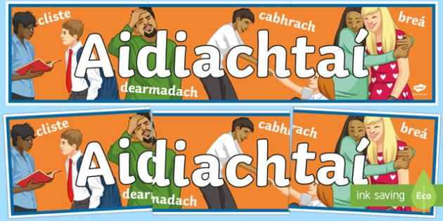 Adjectives Display Banner Gaeilge