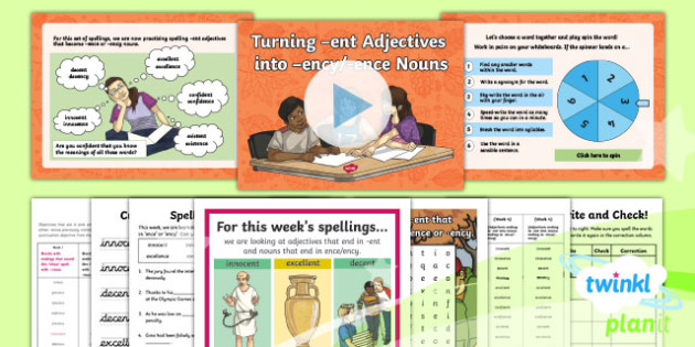PlanIt Y6 Term 1A W4: Adjectives with  -ent and Nouns with  -ence and  -ency Spelling Pack