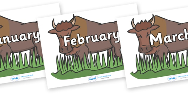 Months of the Year on Bison - Months of the Year, Months poster, Months display, display, poster, frieze, Months, month, January, February, March, April, May, June, July, August, September