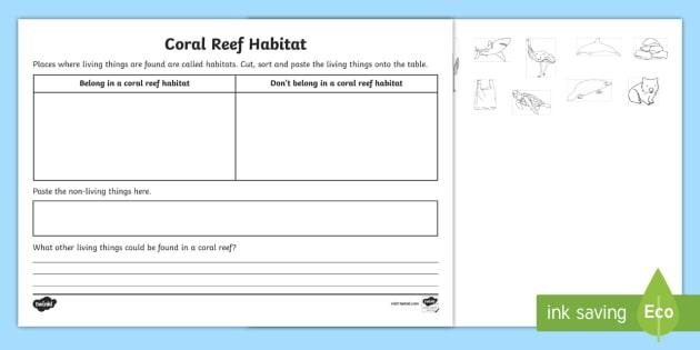 Very best Coral Reef Habitat Worksheet / Activity Sheet - ACSSU211, great RJ82