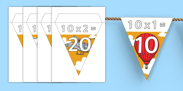 Transport Themed 10 Times Table Bunting - transport, 10 times table, bunting, display, times table