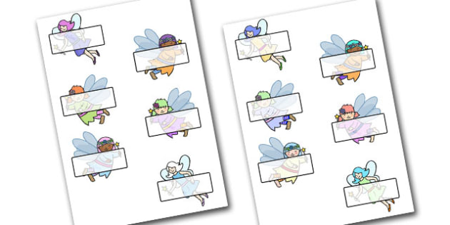 Editable Self-Registration Labels (Fairies) - Fairies, Fairy, topic, fantasy, display, editable, label, fairy display