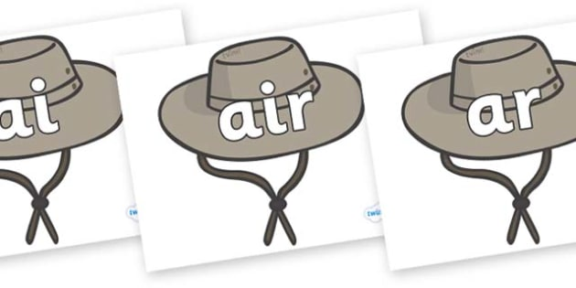 Phase 3 Phonemes on Cowboy Hats - Phonemes, phoneme, Phase 3, Phase three, Foundation, Literacy, Letters and Sounds, DfES, display