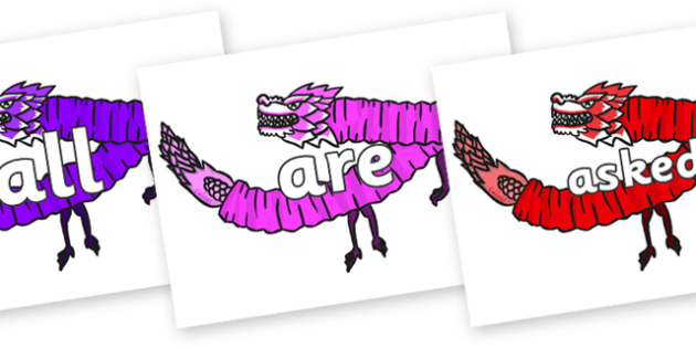 Tricky Words on Chinese Paper Dragons - Tricky words, DfES Letters and Sounds, Letters and sounds, display, words