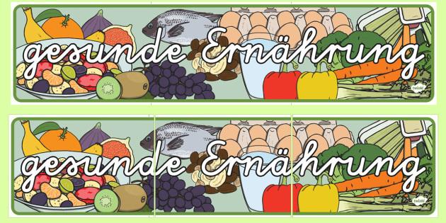 Gesunde Ernährung Banner für die Klassenraumgestaltung