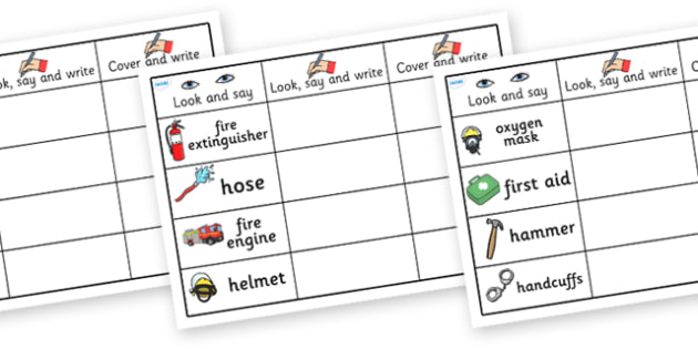 People Who Help Us Equipment Word Practice Worksheets - people who help us, people who help us equipment look say and write sheets, equipment practice