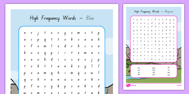 New Zealand High Frequency Words Search